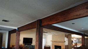 Oak posts and glulam beams